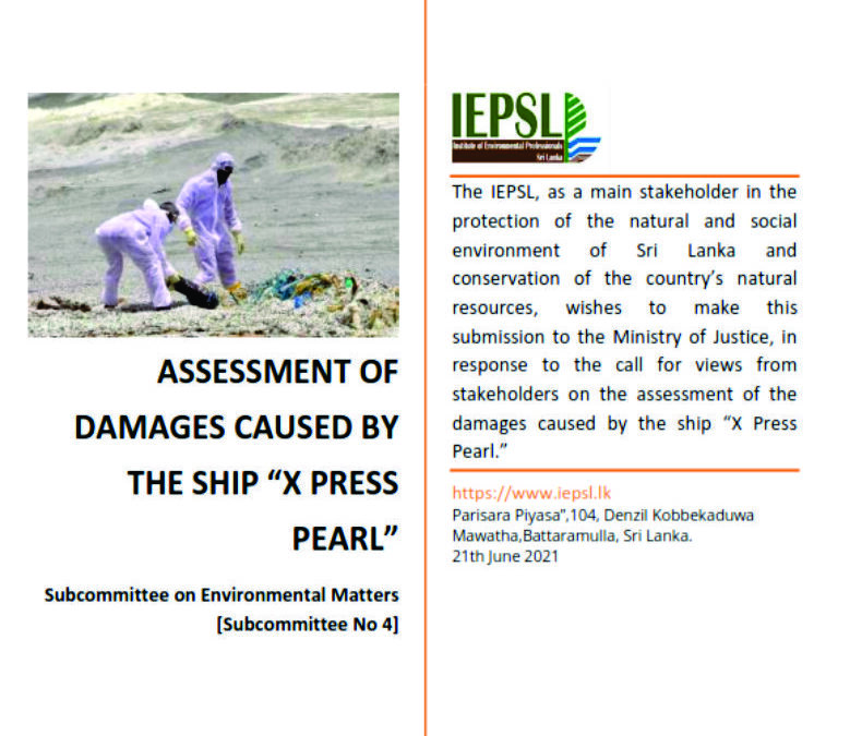 IEPSL Assessment of the damages caused by the ship 'X Press Pearl'